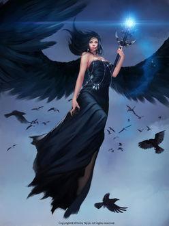 Фото Девушка с красивыми черными крыльями парит в небе среди ворон держа в руке магический посох, by NPye13