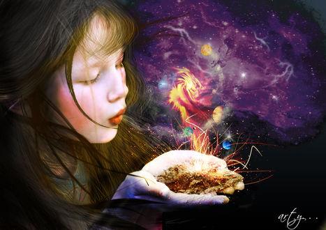 Фото Девочка с волшебством в виде космоса в руках, by pussycatgurl