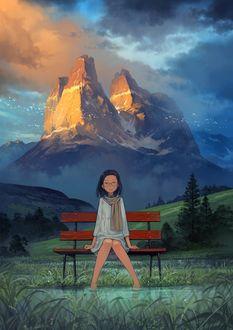 Фото Девочка сидит на лавочке, опустив ноги в воду, на фоне огромной горы