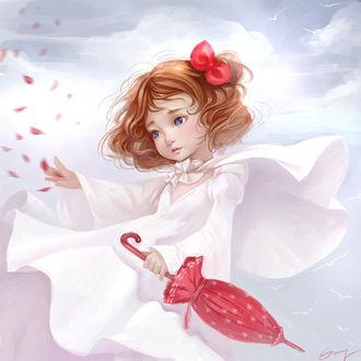 Фото Девочка с красным зонтиком