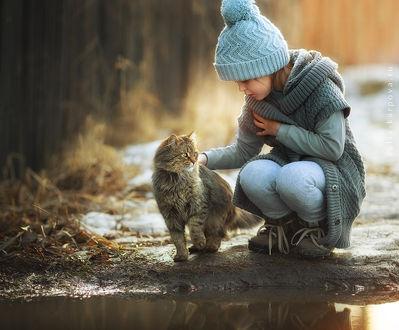 Фото Девочка с кошкой сидят на дороге, фотограф Юлия Карпова