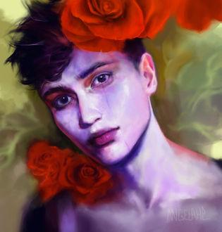 Фото Грустный парень с красными розами на плече и на голове, by Visaga