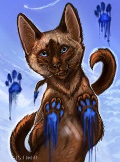 Фото Кошка испачкала лапы в синюю краску и держит в зубах кисточку для рисования, by FlashW