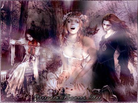 Фото Три вампирши в сумрачном лесу, art by Victoria Frances