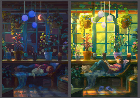 Фото Девочка на кровати днем и ночью, by Sylar113