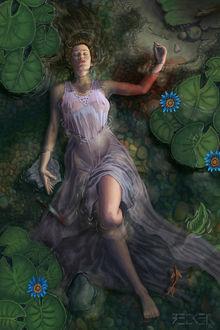 Фото Девушка с окровавленной рукой лежит в воде с лотосами, by SebastianBecker t