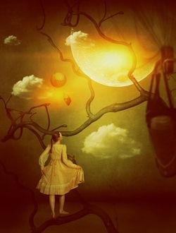 Фото Девушка стоит на ветке дерева и смотрит на луну, by LanaTustich
