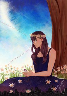 Фото Девушка в платье с изображением ночного города и цветов сидит у дерева, by Sapphirestone91099
