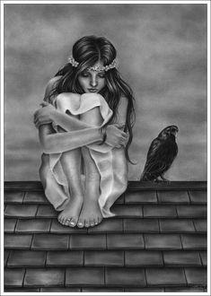 Фото Девушка с вороном, by Zindy