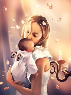 Фото Девушка с ребенком на руках, by AquaSixio
