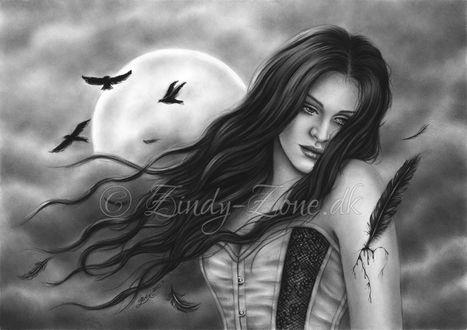 Фото Девушка стоит на фоне луны, by Zindy