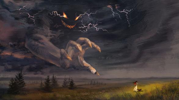 Фото Чудище с неба тянет свою руку к девушке, которая стоит в поле с собакой, ву Cath Botsman