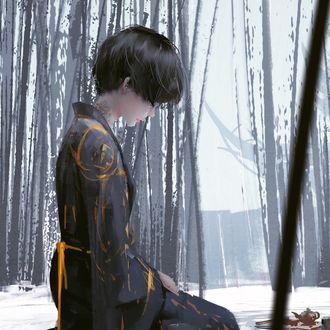 Фото Восточная девушка с тату на шее, сидит на коленях, среди бамбукового леса, by wlop
