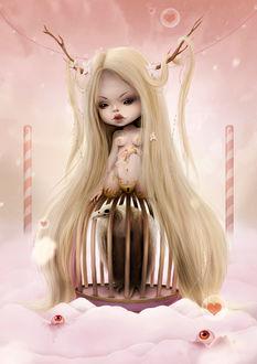 Фото Девочка-монстр с рогами и длинными волосами сидит на клетке с белой птицей