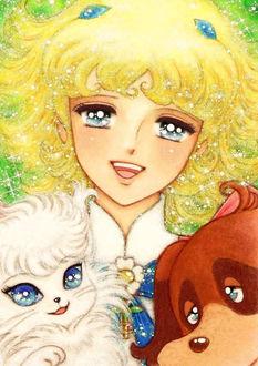 Фото Девушка Лулу / Lulu, ангел в виде кошки Кото / Koto и ангел в виде собаки Нуво / Nuvo из аниме Лулу, ангел цветов / Flower Angel / Hana no Ko Lunlun