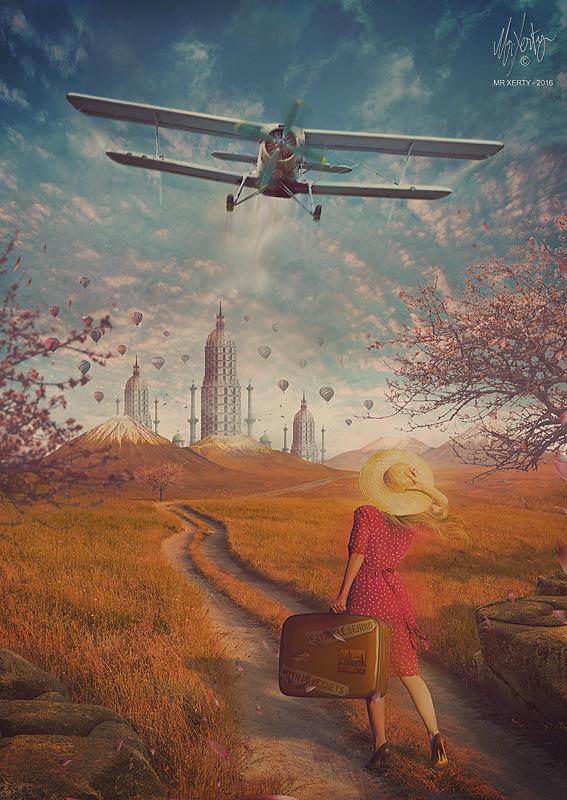 Небо девушка самолет картинки