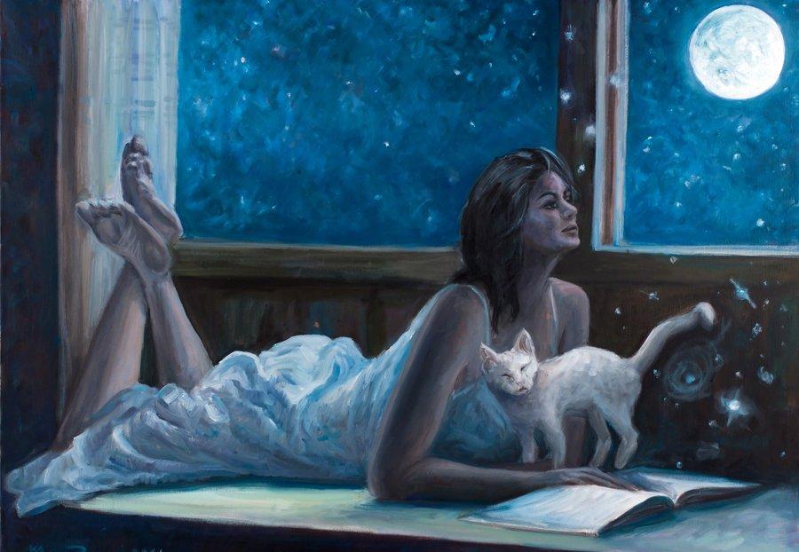Картинки девушка с кошкой у окна