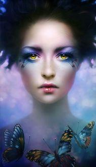 Фото Девушка с желтыми глазами и ярким, красивым макияжем на лице, в окружении цветных бабочек, художник-иллюстратор Melanie Delon