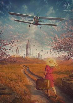 Фото Девушка с чемоданом в руке стоит на дороге и смотрит в небо на самолет, by Mr-Xerty