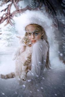 Фото Девочка с кошкой в руках, by Phatpuppyart-Studios