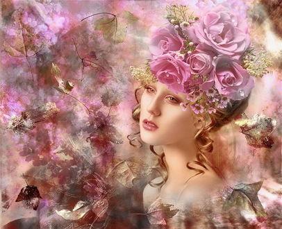 Фото Портрет грустной девушки, с головным убором из цветущих роз, работа фотографа Natali Orion