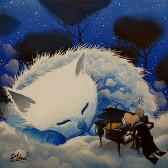Фото Мышь во фраке играет на рояле перед спящим облачным котом, ву Raphael Vavasseur