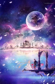 Фото Принц Эндимион / Prince Endymion / Chiba Mamoru / Чиба Мамору, Принцесса Cеренити / Princess Serenity / Usagi Tsukino / Усаги Цукино и Chibi Moon / Чибимун из аниме Сейлор Мун / Sailor Moon, by FalseDelusion