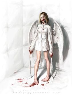 Фото Светловолосая девушка-ангел одетая в белую смирительную рубашку запачканную кровью стоит в белой комнате, by Jason Chan