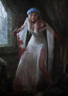 Фото Белокурая девушка-эльф в белом окрававленом платье и венком из синих цветов на голове, держит в правой руке нож, by Jason Chan