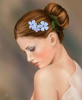 Фото Девушка с опущенной головой, с цветами в волосах