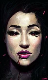 Фото Темноволосая девушка-вампир с кровью на губах, by DanLuVisiArt