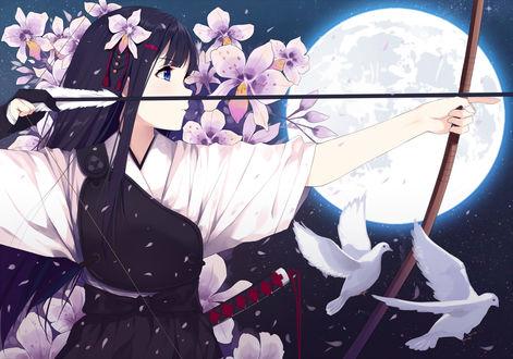 Фото Девушка с луком в руках стоит на фоне полной луны