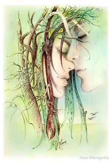 Фото Я укрою тебя в любовь - лица влюбленных рядом, польская художница Anna Ewa Miarczynska