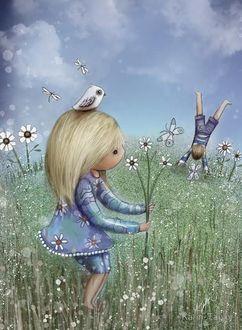 Фото Девочка с ромашками и птичкой на голове, ву Karin Taylor