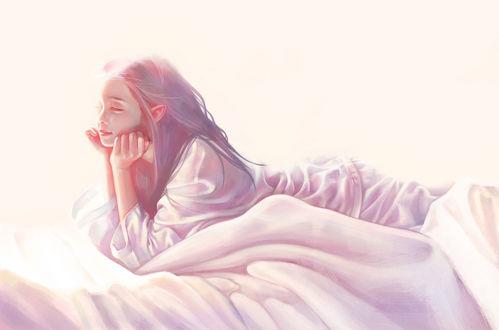 Фото Девушка лежит на кровати, подперев голову руками, Charlotte Kim