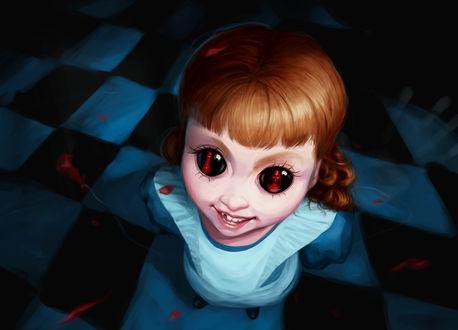 Фото Рыжеволосая девочка с отражением в глазах, by minix