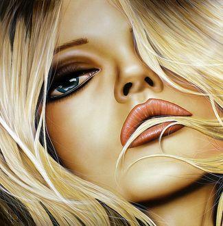 Фото Лицо голубоглазой блондинки крупным планом, by Scott Rohlfs