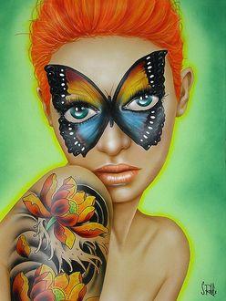 Фото Рыжеволосая девушка с тату в виде цветов на предплечье и с рисунком вокруг глаз в виде бабочки, by Scott Rohlfs
