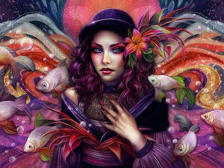 Фото Голубоглазая девушка в шляпке, цветами в волосах, среди морских рыб, автор Gracjana Zielinska