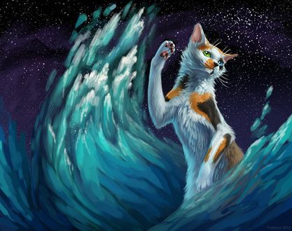 Фото Трехцветная кошка с разного цвета глазами, стоит среди огромных волн, подняв вверх переднюю лапу, by cat patrisiya
