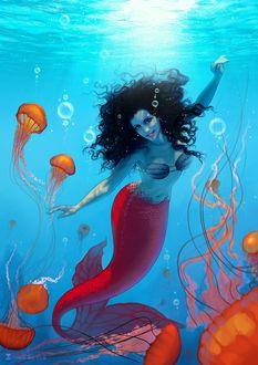 Фото Русалка под водой в окружении медуз, by SoniaMatas