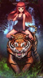 Фото Девушка с ушками сидит верхом на тигре, by Raionzu