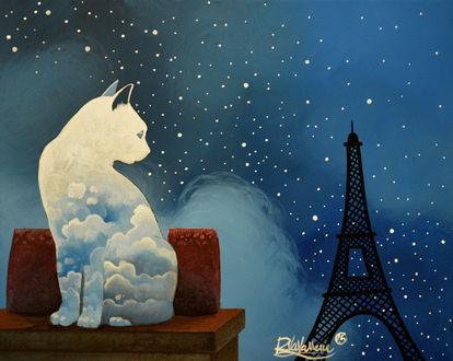 Фото Облачный кот смотрит на Эйфелевую башню / Eiffel Tower, ву Rapha Vavasseur