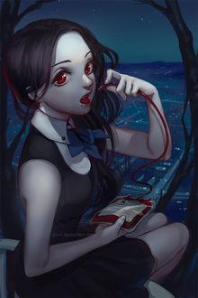 Фото Темноволосая девушка-вампир пьет кровь на фоне города, by Qinni