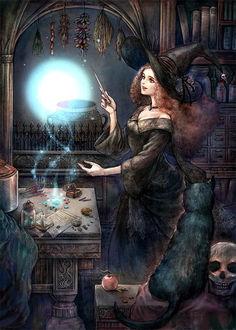 Фото Черная кошка наблюдает за ведьмой, by jurithedreamer
