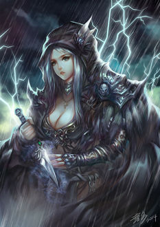 Фото Персонаж игры Dota 2 - Dark ranger, под проливным дождем и молниями, с кинжалом на готове