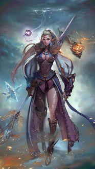 Фото Высокая Эльфийка - воительница с оружием в руке