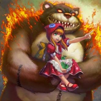 Фото Маша и Медведь в новом прочтении, злой гигантский медведь несет девочку Энни / Annie туда, куда она ему велит, игра League of Legends