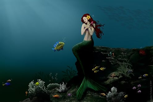 Фото Рыжеволосая девушка-русалочка сидит на камне под водой, by BaB-Jane