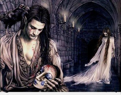 Фото Вампир, на плече которого сидит ворон, держит в руке маску, за ним в коридоре стоит девушка с опущенной головой, работа Victoria Frances / Виктории Францес